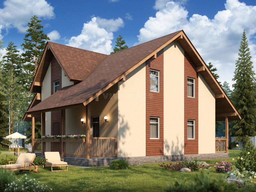 Двухэтажный дом площадью 166 м2 по проекту Омега 3D