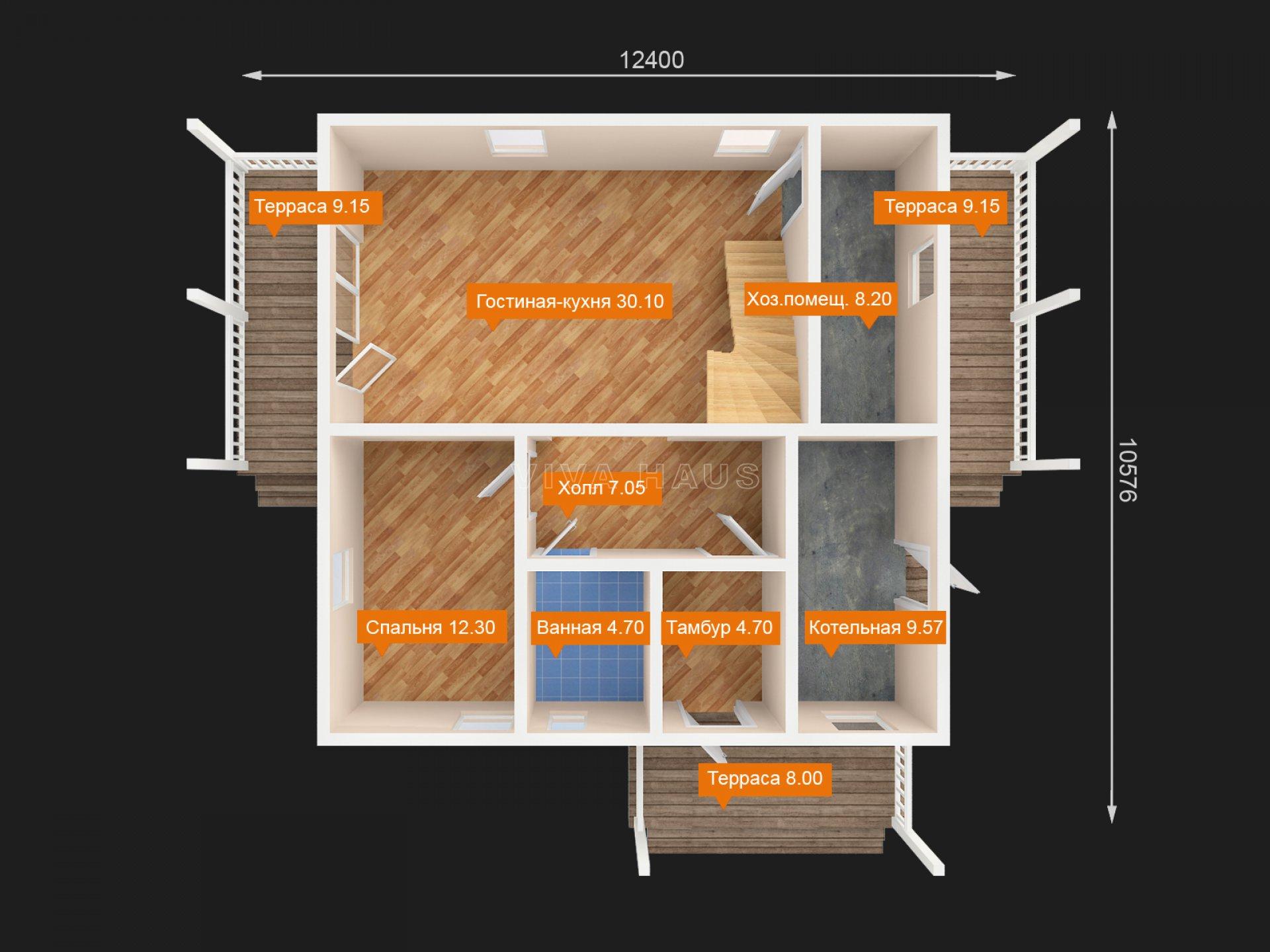 Двухэтажный дом площадью 166 м2 по проекту Омега 3Dплан 1 этажа