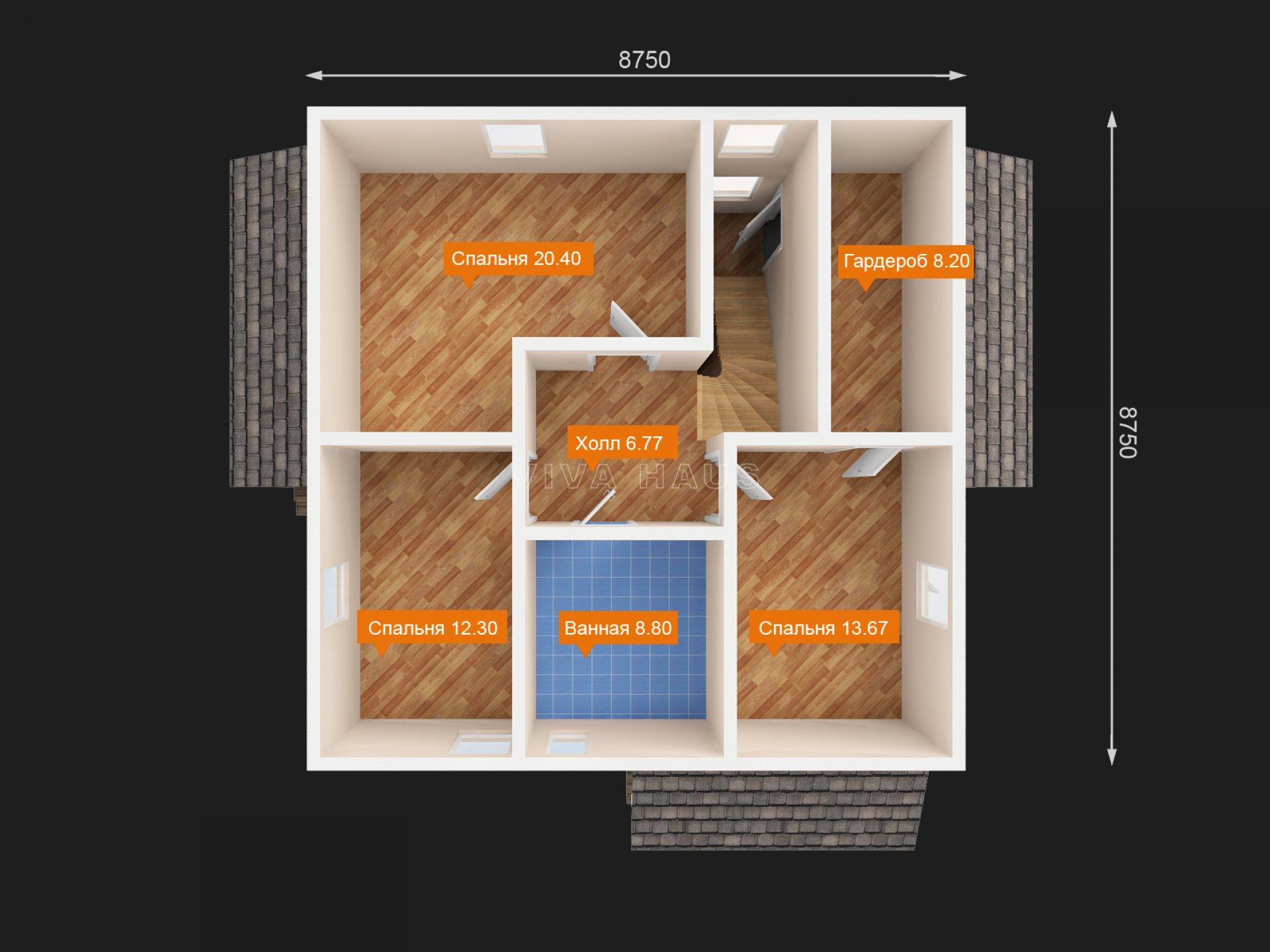 Двухэтажный дом площадью 166 м2 по проекту Омега 3Dплан 2 этажа