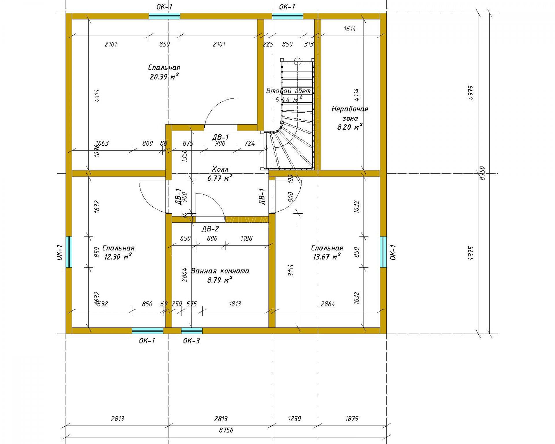 Двухэтажный дом площадью 166 м2 по проекту Омега план 2 этажа