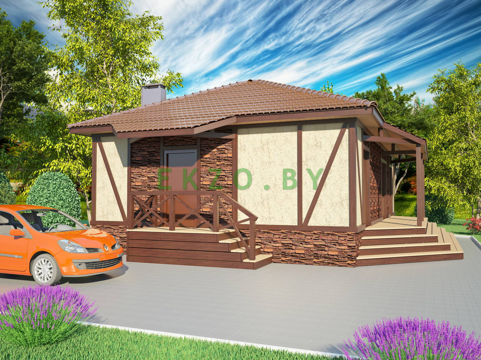 Комфортный дом фахверк K1 107.5 v3