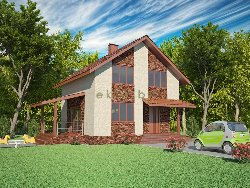 Дом с мансардным этажом в 3Д вид1_ekzo.by