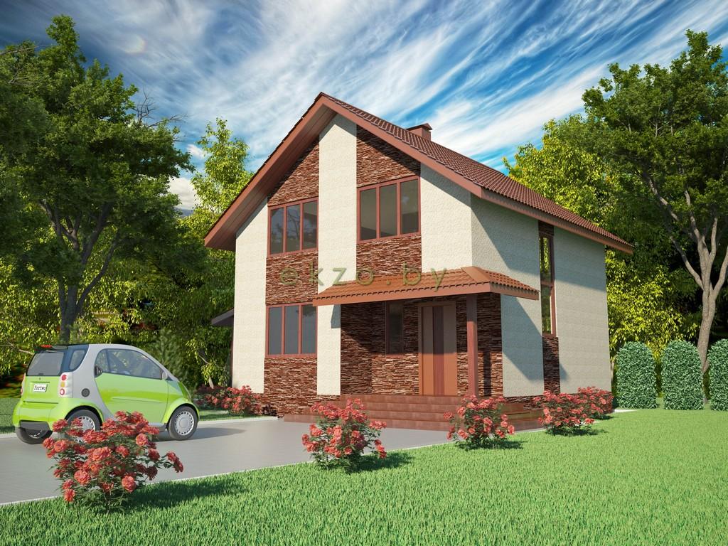 Дом с мансардным этажом в 3Д вид2_ekzo.by