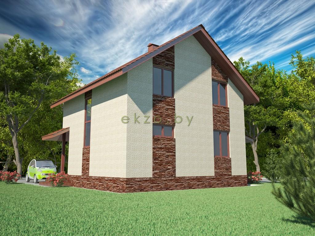 Дом с мансардным этажом в 3Д вид3_ekzo.by