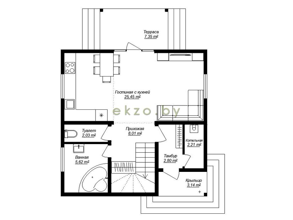 Рациональный дом с мансардным этажом план1 этажа_ekzo.by