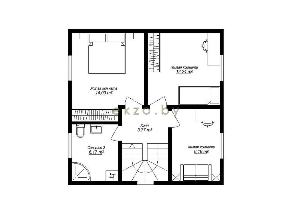 Рациональный дом с мансардным этажом план2 этажа_ekzo.by